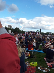 View of the main stage at The Prom in the Park (c) Jane Risdon 2013
