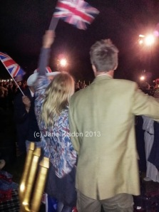 Singing Jerusalem with 40,00 others, this couple entered into the spirit wholeheartedly. (c) Jane Risdon 2013