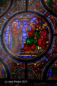 Stained glass window which I stood next too up in the roof. (c) Jane Risdon 2013