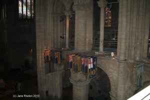 We were level with the flags and banners hanging high above the congregation (c) Jane Risdon 2013