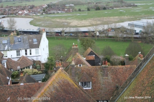 Never far from the sea - rooftop view of Rye - (c) Jane Risdon 2014