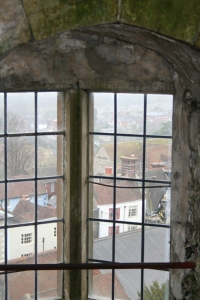Looking out of the castle down into Lewes (c) Jane Risdon 2014