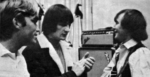 Terry Melcher in the studio 1965 with Gene Clarke and Dave Crosby of The Byrds working on Turn, Turn, Turn.