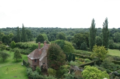 View from the Tower at Sissinghurst of South Cottage and rose garden (c) Jane Risdon 2015