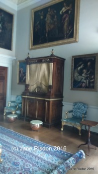 Music Room, organ and kettle drums (c) Jane Risdon 2016